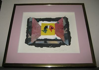 "Mixed Media & Collage from ""Tales of the Toucan"" Signed Carol Laughlin Framed"