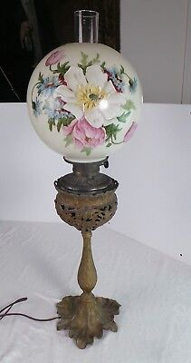 Victorian Gone With Wind Style  Parlor Lamp Hand Painted Ball