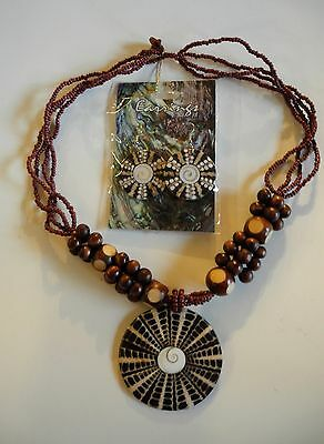 Spider Web Cone Shell Eye of Shiva & Wood Bead Necklace & Earrings Set NEW!