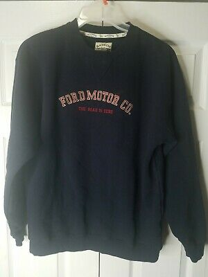 FORD MOTOR CO. Embroidered Crewneck Sweatshirt Dark Blue Medium - Blackwater Bay