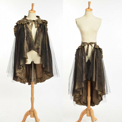Victorian Long Ruffle Bustle Skirt/Cape Medieval SteamPunk Retro Cape 2 in 1