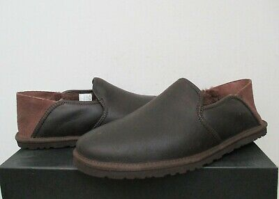 4948eaf5ad9 UGG MEN'S COOKE Shoes Loafer Slippers 10US GRIZZLY Brown Leather NWB $110  MSRP