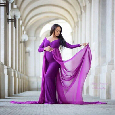Pregnant Women Chiffon Dress Long Gown Maternity Photography Photo Shoot Props