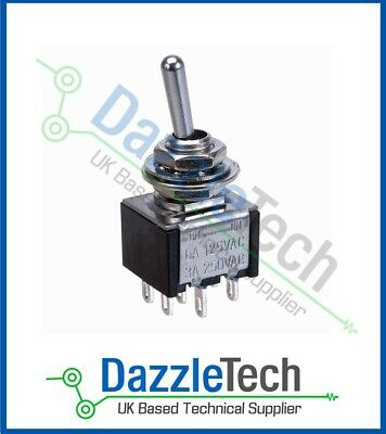 DPDT Mini Toggle Switch SCI TA202A1 ON-ON Latching 3A/6A