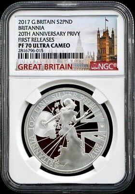 2017 G Britain £2 1Oz Silver Proof Britannia-20thAnniv Trident Privy NGC PF70 FR
