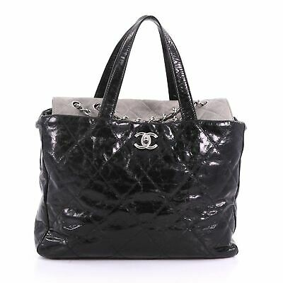 1d17493c0391 CHANEL BLACK GLAZED Quilted Leather and Tweed Portobello Large Tote ...