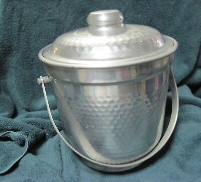 Vintage Hammered Aluminum Ice Bucket with Loop Handle B-503 - Made in Italy