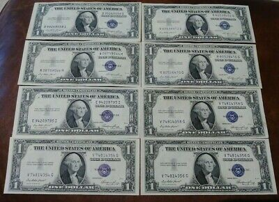 8 CRISP 1935 Series E Silver Certificates - One Dollar $1 bill Blue Seal