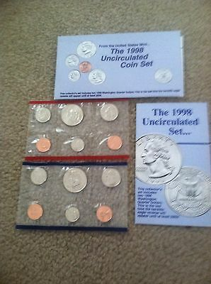 1998 US Mint Uncirculated Coin Set 5 Coin Philadelphia & 5 Coin Denver