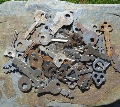 51  Antique / Old  Vintage Flat Padlock Keys   Many Makers