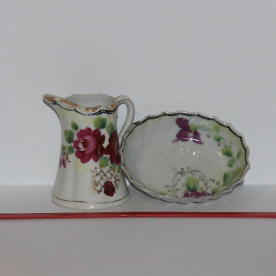 1920 rose child play set Japan creamer and bowl hand painted
