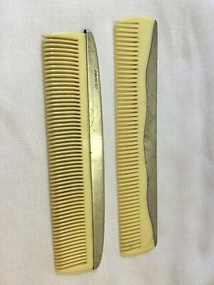 Adult & Child Comb Set Vintage Webster & Co Sterling Silver Mono WJS & Jr.
