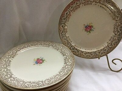 """Estate Vtg Ceramic Plates by Taylor Smith And Taylor Set (10) Mint 1940's 7 1/4"""""""