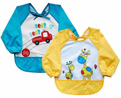 Leyaron Infant Toddler Baby Waterproof Sleeved Bib, 6 Months-3 Years - 2pk
