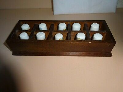 Porcelain THIMBLE collection of 10 in presentation box.Made in England/Britain.