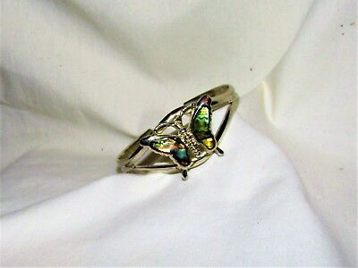 Estate Butterfly Abalone Shell Bracelet Jewelry Cuff 925 Sterling Silver