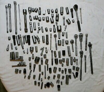 Mixed Lot Of 140 Sockets, Ratchets, & Adapters - USA & Off Brands Various Drives