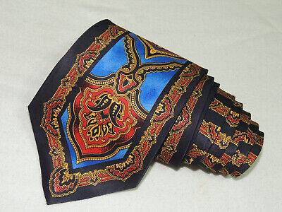 "Andrea Garavani Men's Tie Navy Blue, Red Yellow/novelty 4"" 57"" Italy"