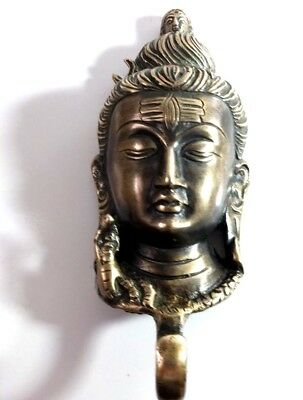 Vintage Antique Style Solid Brass Budha Face Wall Hook Hanger.coat/Hat/Key