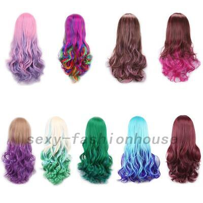 Women Long Anime Full Hair Wigs Rainbow Curly Wavy Straight Deluxe Wig Cosplay
