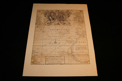 Old Antique 1740 Map or Chart of the Western or Atlantic Ocean Emanuel BOWEN