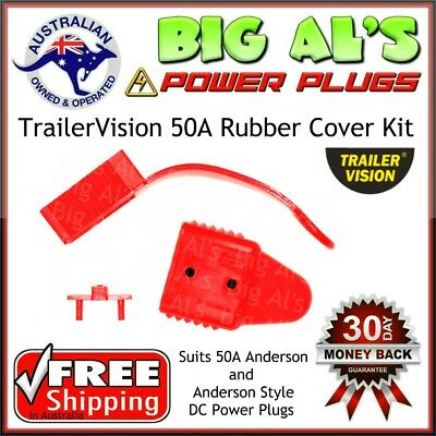 2 x *RED* TrailerVision 50 Amp Anderson Plug RUBBER COVER KIT Dust End Cap