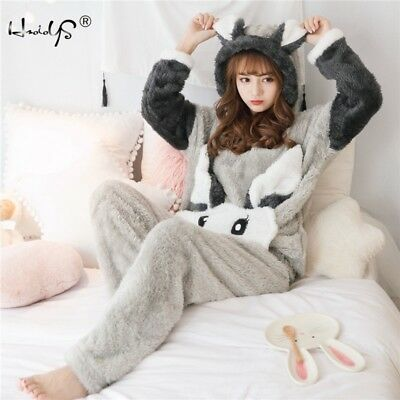 Winter Women Thick Flannel Pajamas Set Warm Sleepwear Coral Velvet Homewear Robe