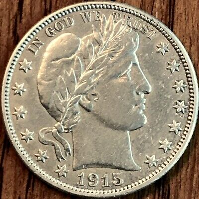 Sharp Negligibly Circulated 1915-D Barber Liberty Head Half Dollar (50¢) US Coin