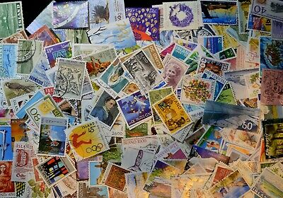Used lot of over 240 different Iceland postage stamps