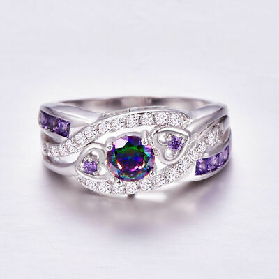 Women White Gold Round Cut Purple Amethyst Gem Wedding Band Ring Gift Size 6-10