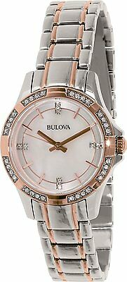 Bulova Women's Crystals Two Tone Stainless Steel Mother of Pearl Dial reg.$298