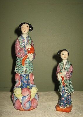 Antique Chinese Porcelain Famille Rose Figurine Statues