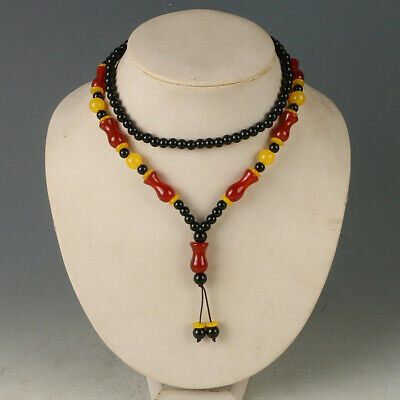 """17"""" Natural Jade Handwork Carved Weave Beads Necklaces CC0702"""