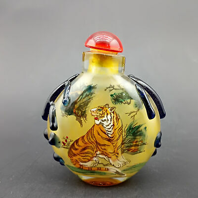 Chinese Exquisite Handmade Tiger pattern glass snuff bottle