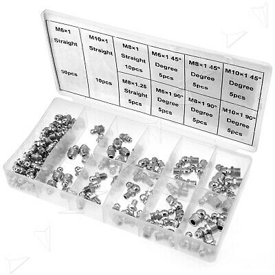 Grease Nipple Assortment Set M6/M8/M10, 45°/90°Galvanized Grease Nipples 115Pc