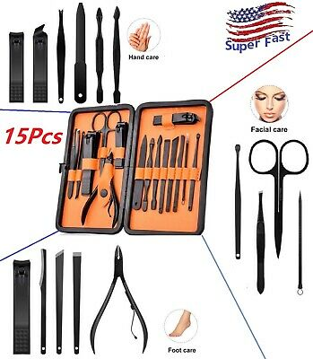 15pcs Manicure Pedicure Tool Set Nail Clippers Stainless Steel Nail Leather Case
