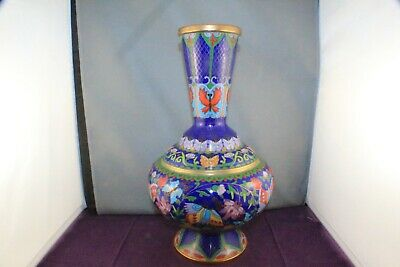 "Vintage Chinese Cloisonne 12"" Bottle Vase with Butterflies and Flower Design"