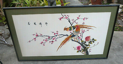 Vintage Large Chinese Bird & Flowers  Silk Embroidery Tapestry Art Framed