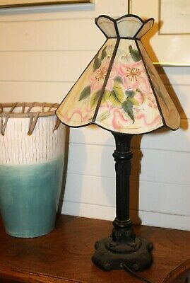 Hand painted leadlight lamp.  Pinks and greens.