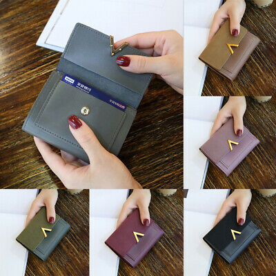 Womens Short Small Money Purse Wallet Ladies Leather Folding Coin Card Holder AU