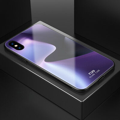 Luxury Hybrid Shockproof Cover Tempered Glass Back Case For iPhone X XR XS Max