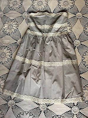 Anthropologie Kimchi & Blue strapless gray gingham plaid eyelet lace sun dress S