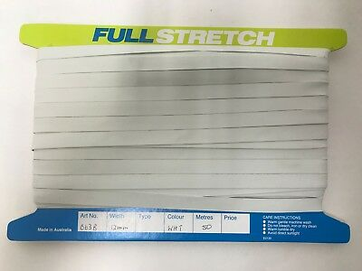 Swimwear Elastic 50m x 12mm Rubber Make your own swimmers Full Card Full Stretch