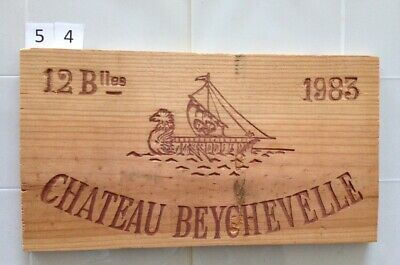 "Wooden Wine Box Side PANEL: #54 Vintage 1983 ""Chateau Beychevelle"" - France"