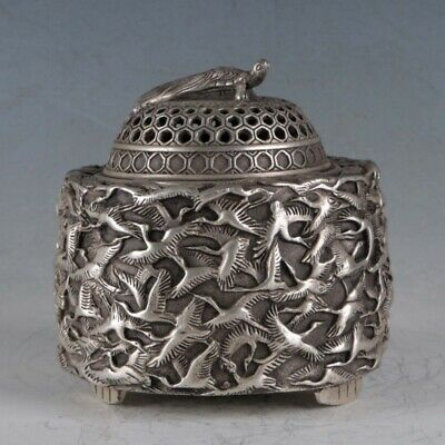 Chinese Silvering Copper Crane Incense Burner Made By The Royal QIanlongBT0052.b
