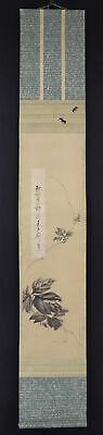 "JAPANESE HANGING SCROLL ART Painting ""Poem and Painting"" Asian antique  #E6146"