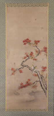 "JAPANESE HANGING SCROLL ART Painting ""Bird and Red leaves"" Asian antique  #E6507"