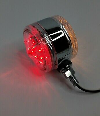 "3"" LED Double Face Pedestal Turn Signal Light, Red & Amber w/ Clear Lenses"