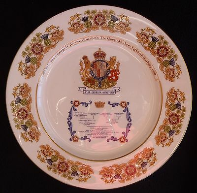 Aynsley Fine Bone China Decorative Plate 80th Birthday Queen Mother 1980