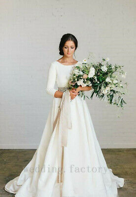MODEST SATIN LONG Sleeves Wedding Dresses Plus Size A Line Beach Bridal Gown